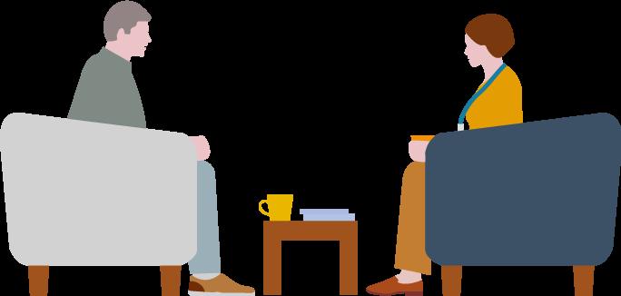 Two people sat talking