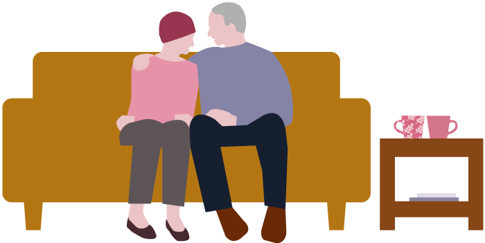 Man and woman on sofa supporting each other