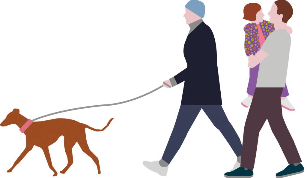 Family dog walking with child